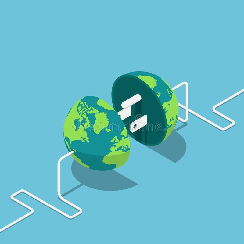 Earth globe as a plug and socket connected together vector illustration