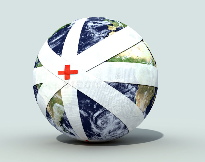Earth globe bandaged vector illustration