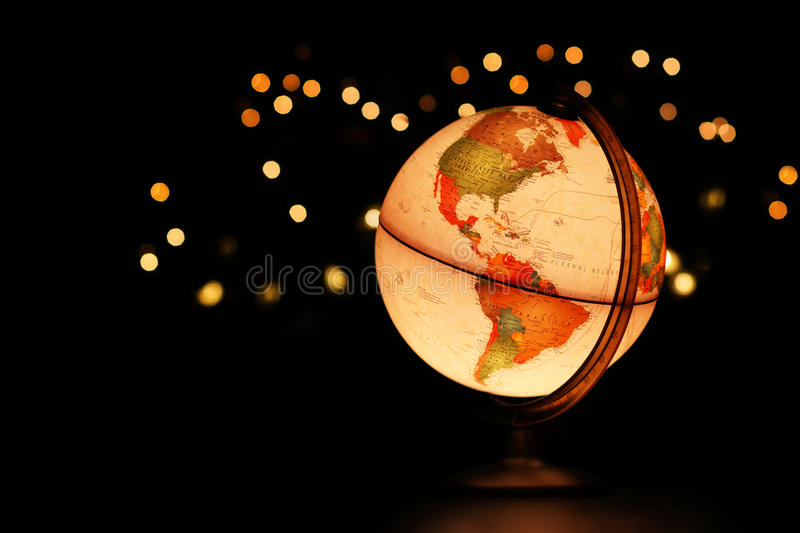 Earth globe on black stock photography