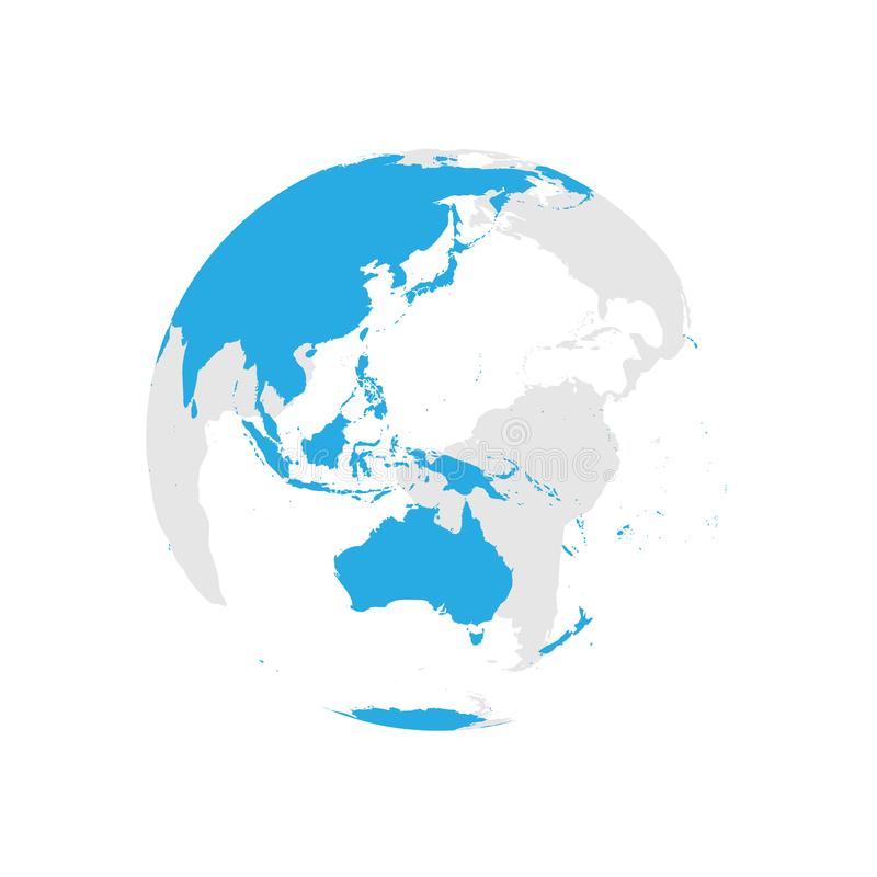Earth globe with blue world map focused on australia and pacific download earth globe with blue world map focused on australia and pacific flat vector gumiabroncs Gallery