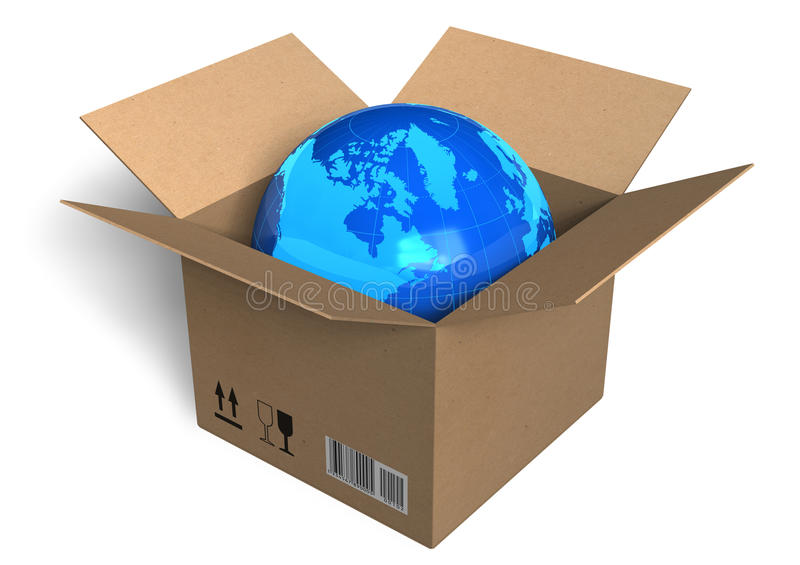 Earth globe in box stock illustration