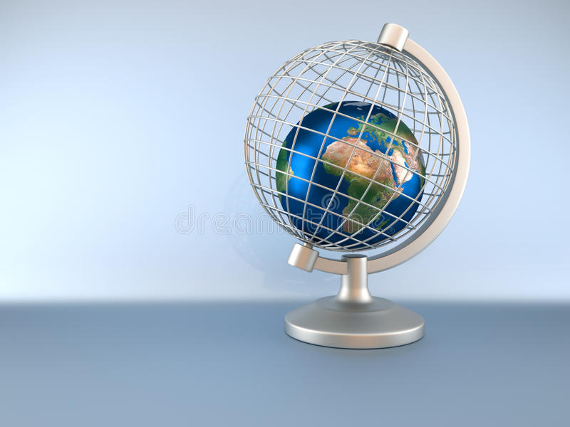 Earth globe in captivity. Earth globe captive in a wired globe - 3d render. Texture map comes from stock illustration