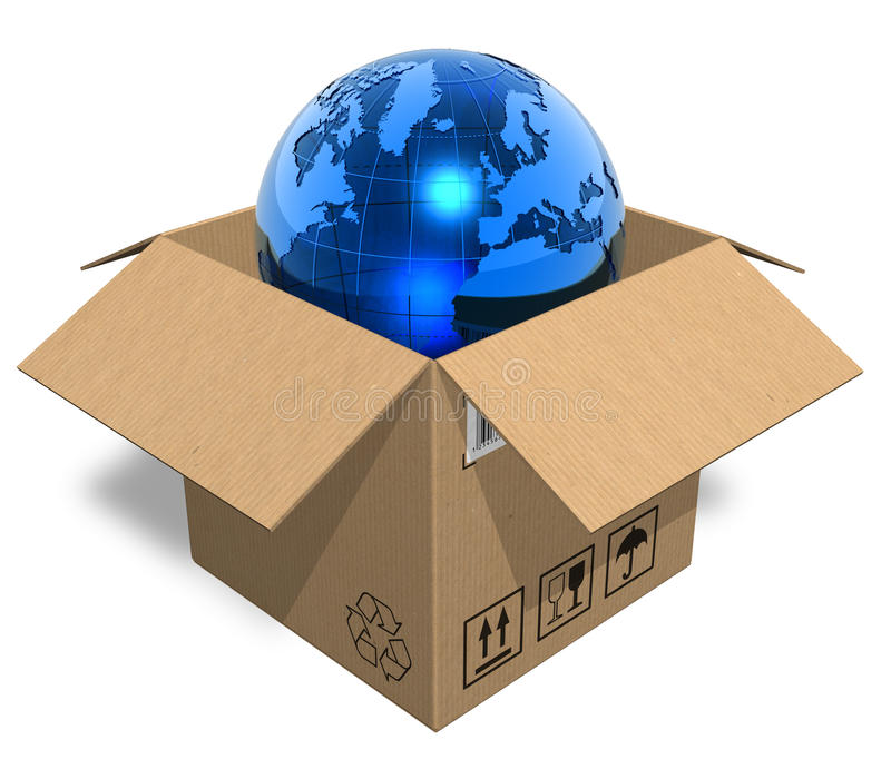 Earth globe in cardboard box vector illustration