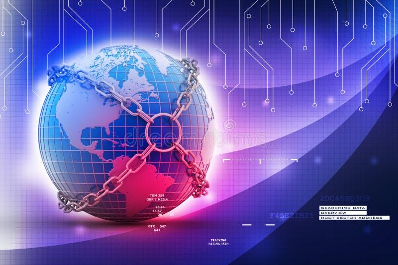 Earth Globe Close In Chain Stock Illustration