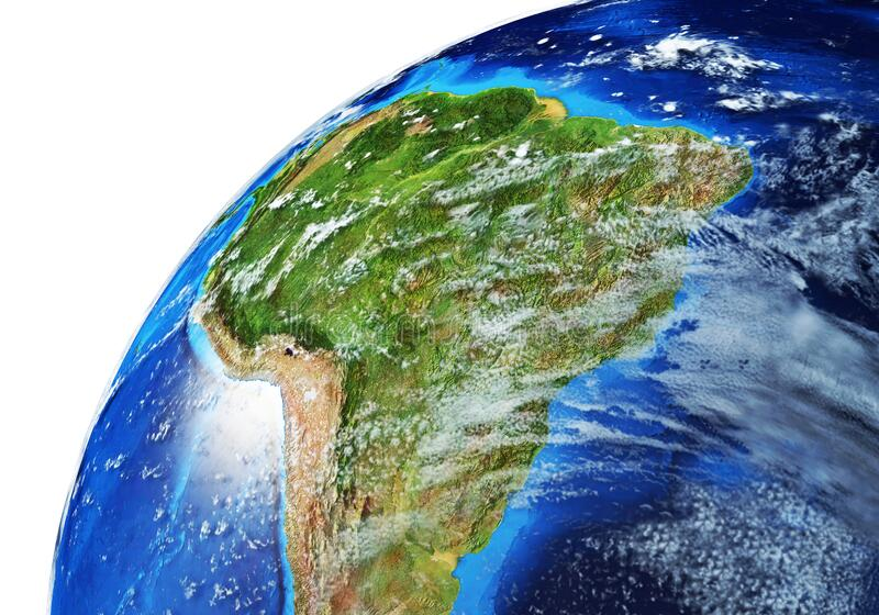 Earth globe close-up of South America stock image