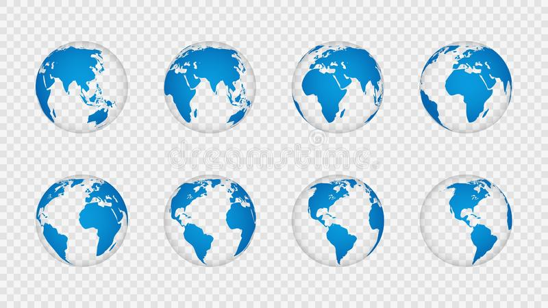 Earth globe 3d. Realistic world map globes continents. Planet with cartography texture, geography isolated on. Transparent vector globus set vector illustration
