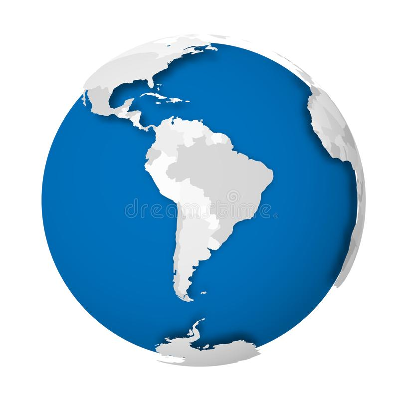 Earth globe. 3D world map with grey political map of countries dropping shadows on blue seas and oceans. Vector royalty free illustration