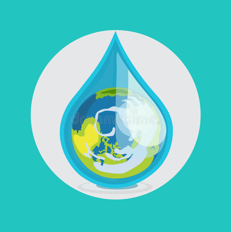 Earth globe in drop of water flat design vector stock illustration