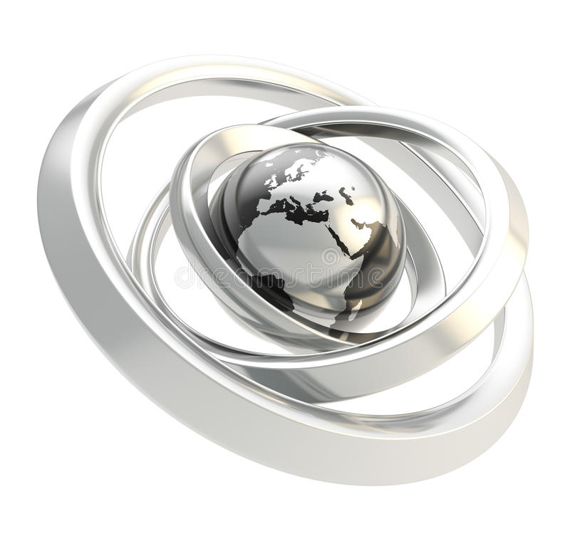 Earth Globe Emblem Inside The Ring Torus Isolated Royalty Free Stock Photos