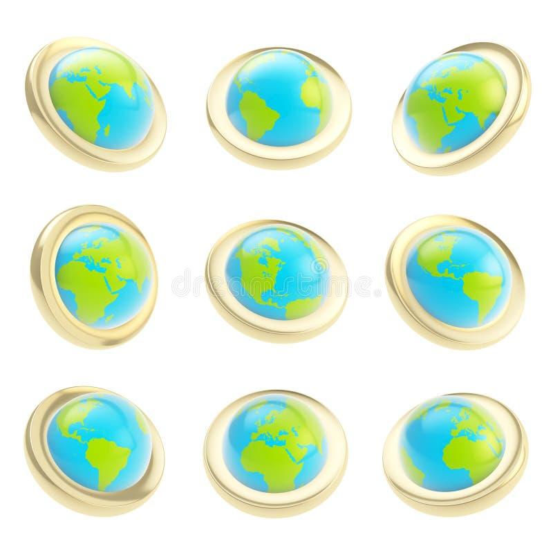 Download Earth Globe Emblem Tag In Nine Foreshortening Stock Illustration - Illustration: 26508194