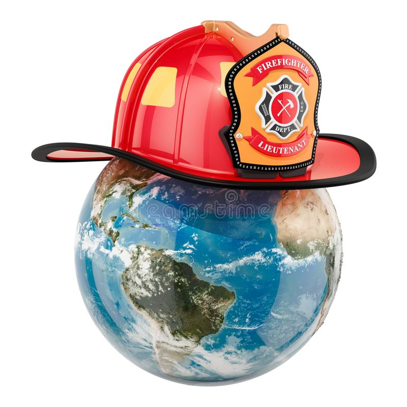 Earth Globe with firefighter helmet. 3D rendering isolated on white background royalty free illustration
