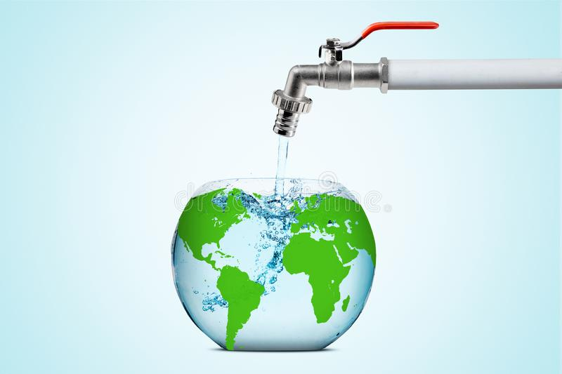 Earth globe with flowing water from a faucet. Close up of an earth globe shaped an aquarium with flowing water from a faucet. Concept of save water vector illustration