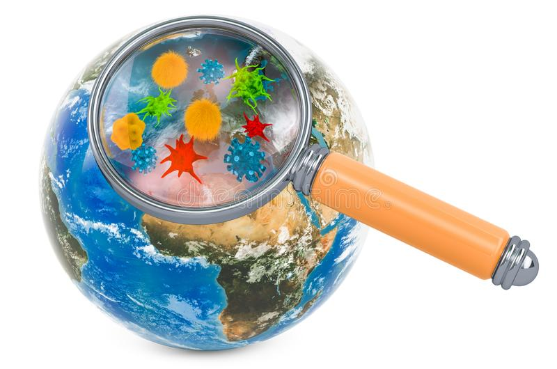 Earth globe with germs and bacterias under magnifying glass, 3D rendering stock illustration