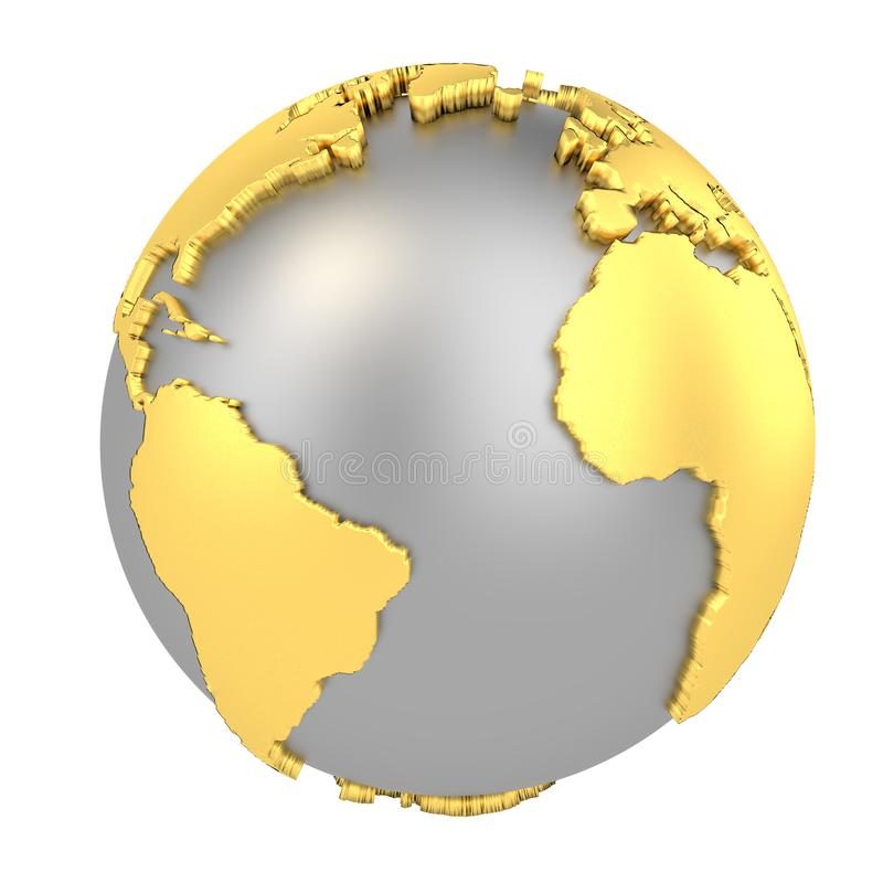 Earth globe with golden continents isolated on white background. World Map. 3D rendering illustration royalty free illustration