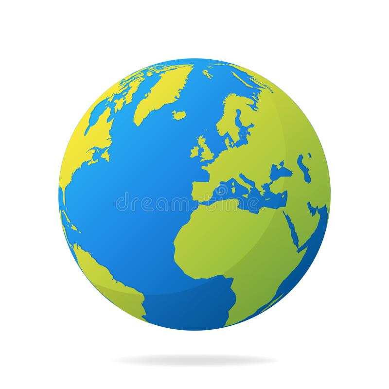 Earth globe with green continents. Modern 3d world map concept. World map realistic blue ball vector illustration.  stock illustration