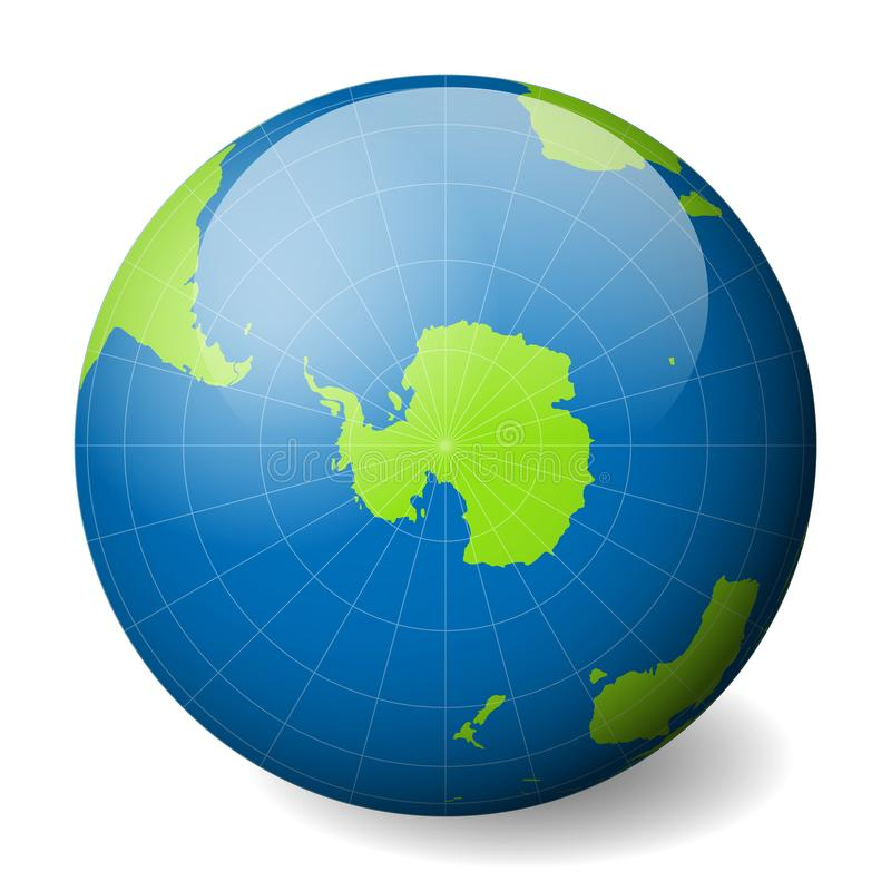 Earth globe with green world map and blue seas and oceans focused on download earth globe with green world map and blue seas and oceans focused on antarctica and gumiabroncs Choice Image