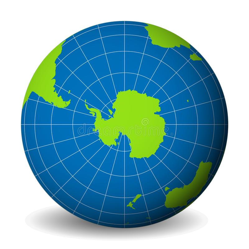 Earth globe with green world map and blue seas and oceans focused on Antarctica with South Pole. With thin white. Meridians and parallels. 3D vector royalty free illustration