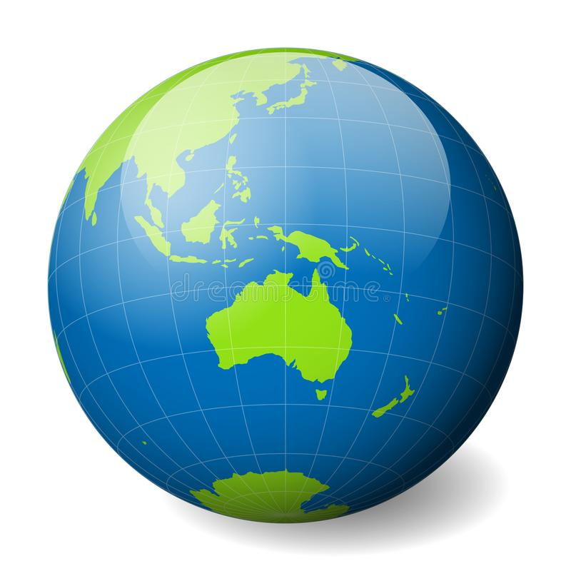 Earth globe with green world map and blue seas and oceans focused on Australia. With thin white meridians and parallels. 3D glossy sphere vector illustration royalty free illustration