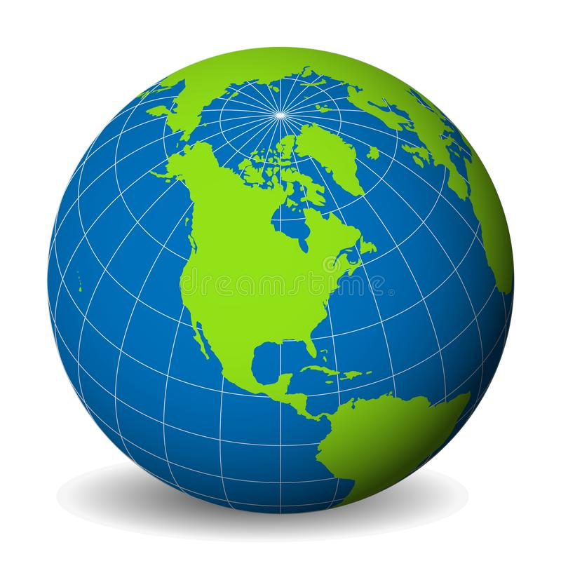 Earth globe with green world map and blue seas and oceans focused on North America. With thin white meridians and. Parallels. 3D vector illustration stock illustration