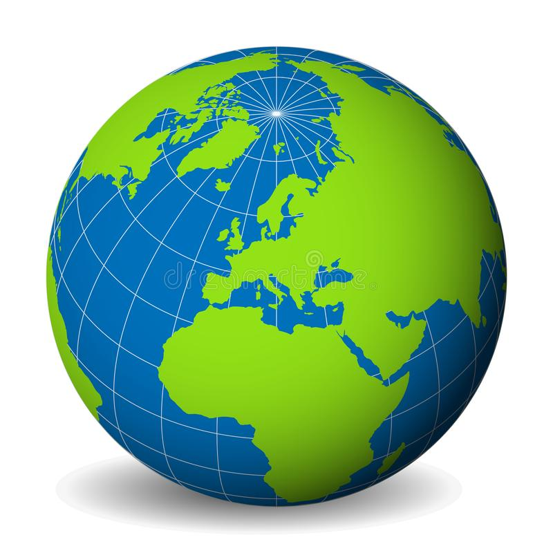 Earth globe with green world map and blue seas and oceans focused od download earth globe with green world map and blue seas and oceans focused od europe gumiabroncs Images