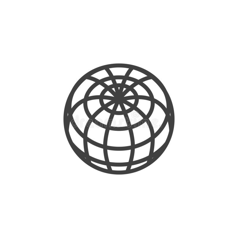 Earth globe grid line icon stock illustration