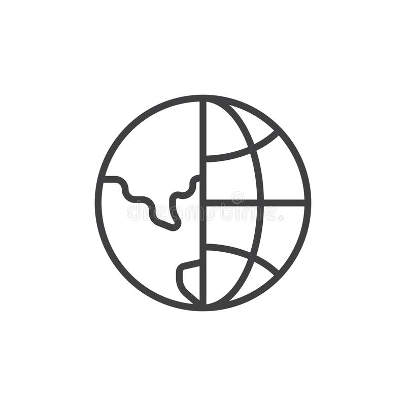Earth globe grid outline icon stock illustration