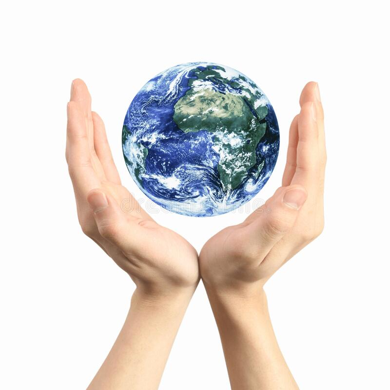 Earth globe in hands stock image