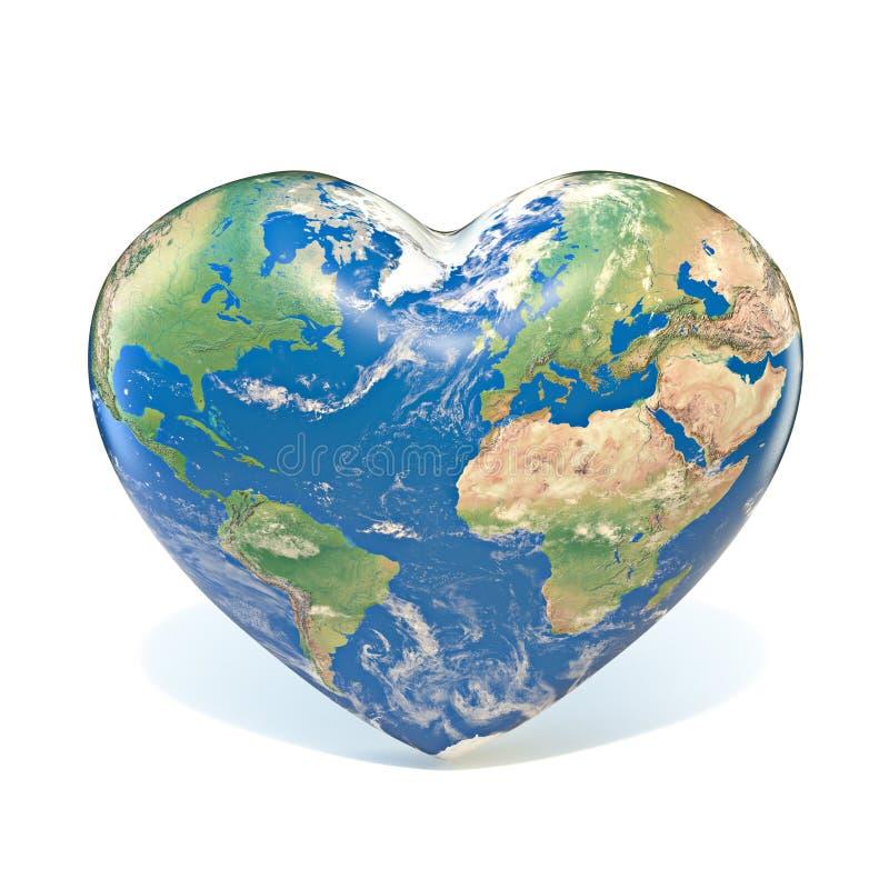 Earth globe heart shaped 3D royalty free illustration