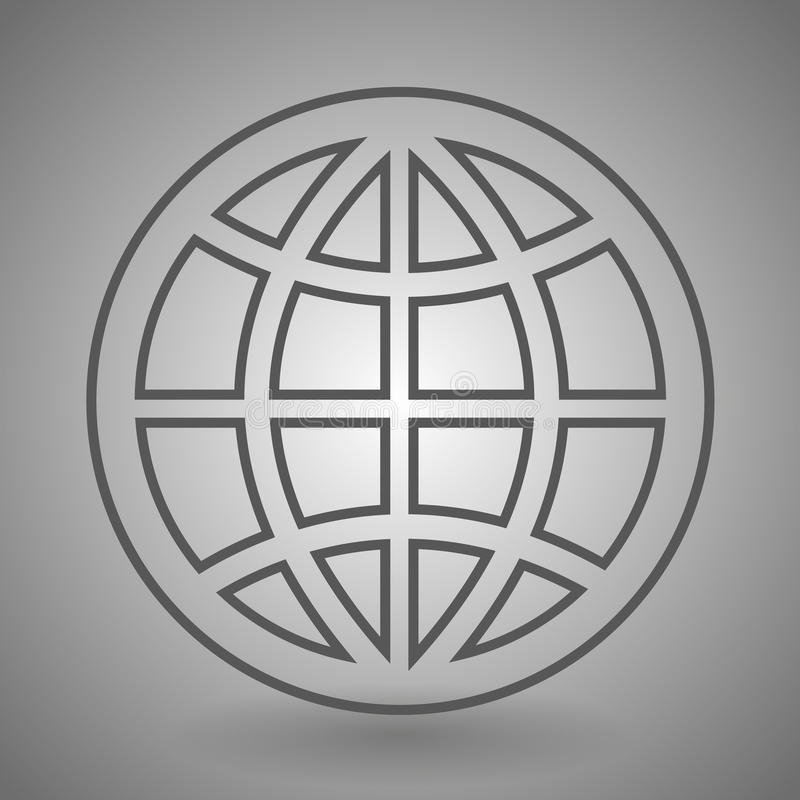 Earth globe icon - linear simple symbol or logo.  stock illustration