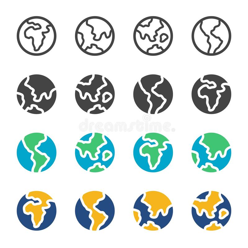 Earth and globe icon set royalty free illustration