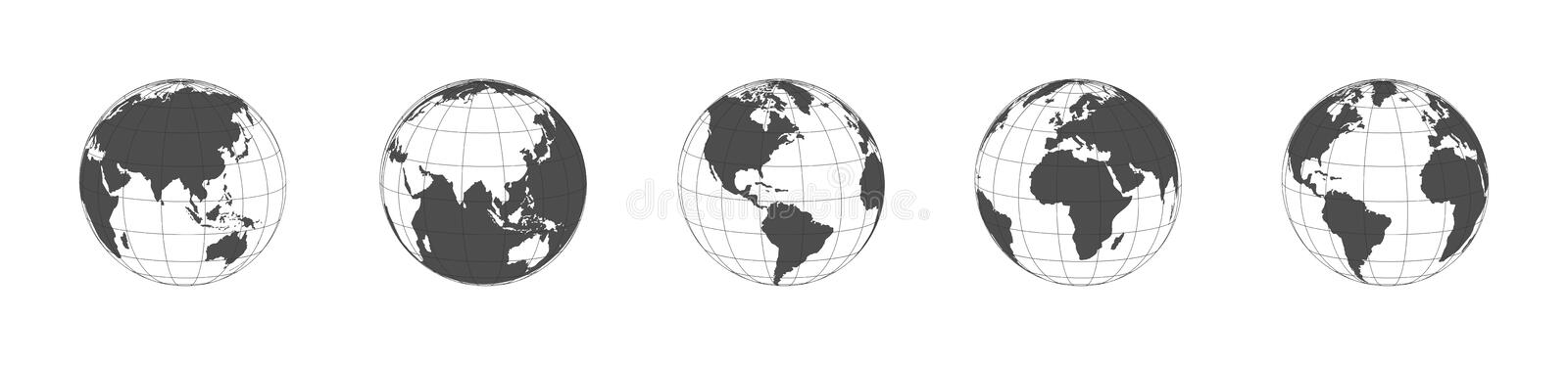 Earth globe icons set in a row. Panorama view. Earth globe dark icons isolated on white background. Earth globe in flat design royalty free illustration