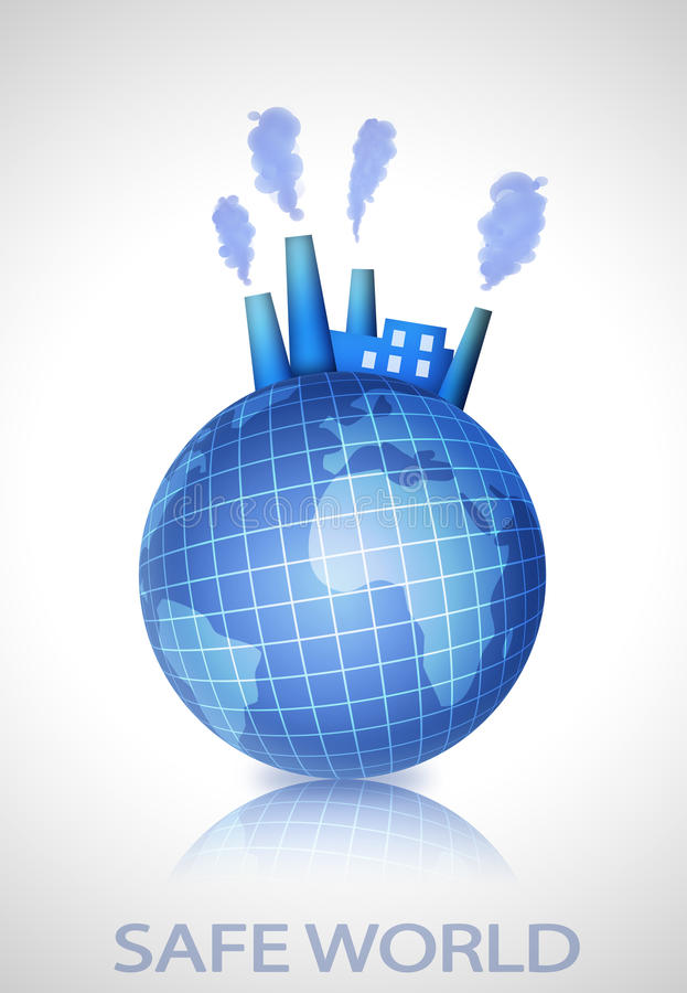 Earth globe with industry factory royalty free illustration