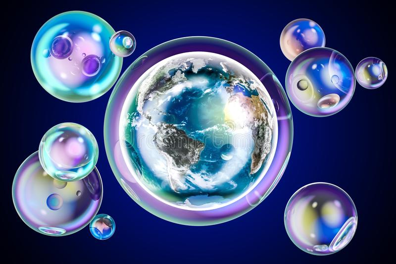 Earth globe inside soap bubble. Environment concept, 3D rendering vector illustration