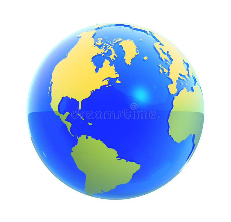 Earth Globe Isolated. 3D render of an earth globe royalty free illustration