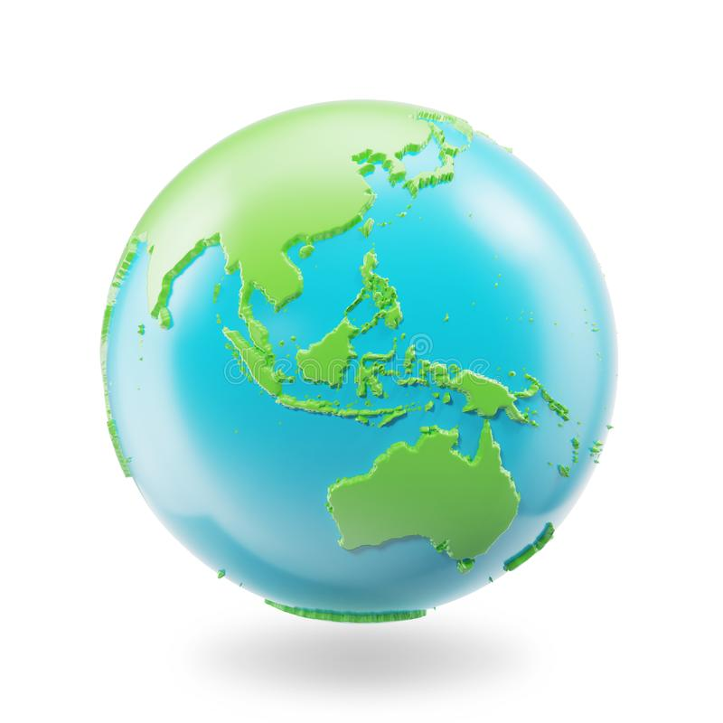Earth globe isolated on white background. Globe planet Earth icon, 3D Rendring stock illustration