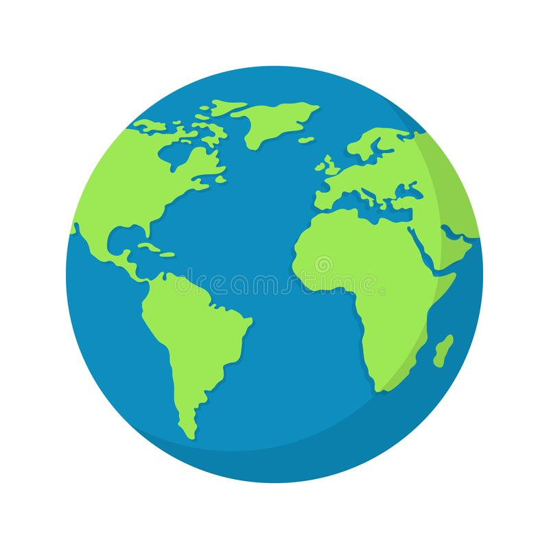 Earth globe isolated on white background. World map. Earth icon. Clean and modern vector illustration for design, web. Earth globe isolated on white background stock illustration