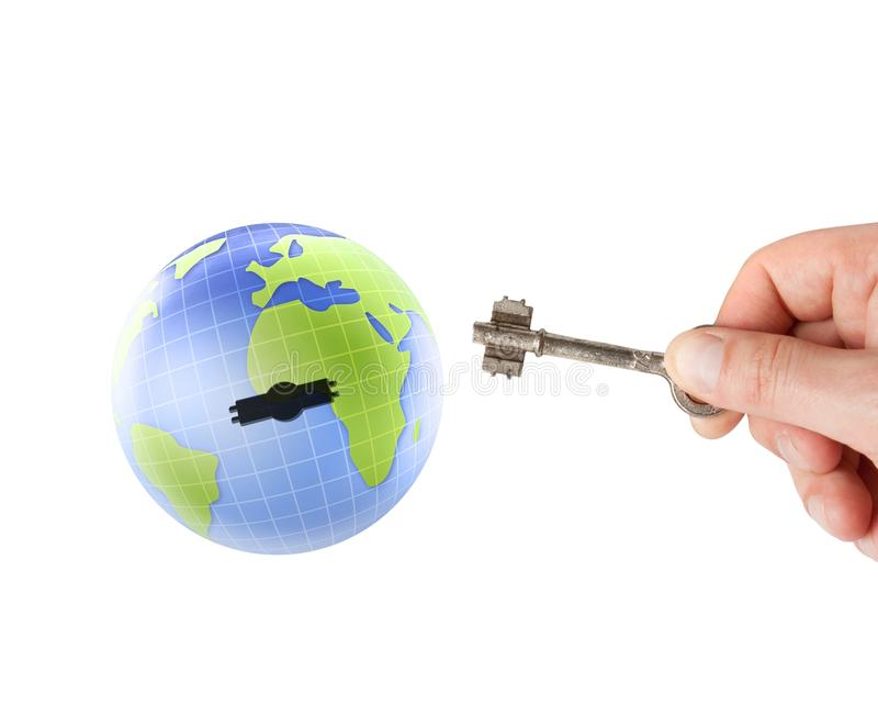 Download Earth globe with key stock photo. Image of opening, expertise - 14512830