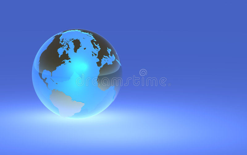 Earth Globe - Left Orientation. 3D render of a glowing earth globe. Note to inspector - I've uploaded a left and right version of this image, to give designers royalty free illustration