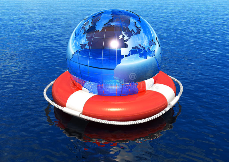 Earth globe in lifebuoy floating in water. Ecological/global crisis concept: Earth globe in lifebuoy floating in water vector illustration