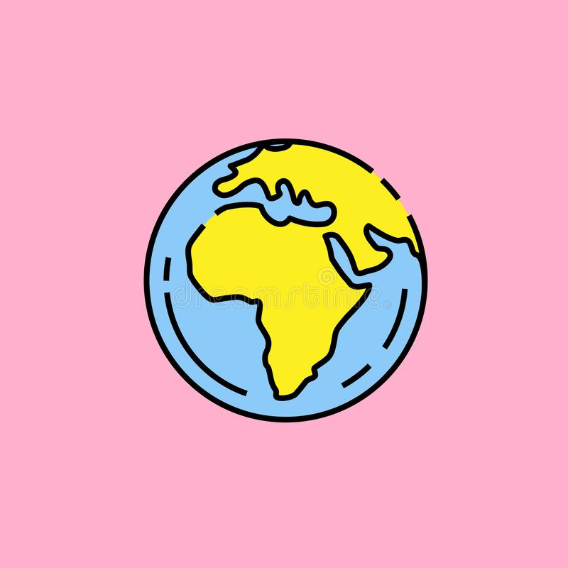 Earth globe line icon. Green and blue world symbol isolated on pink background. Earth day graphic. Vector illustration vector illustration