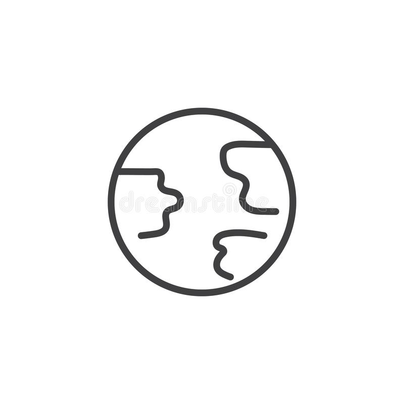 Earth globe line icon royalty free illustration