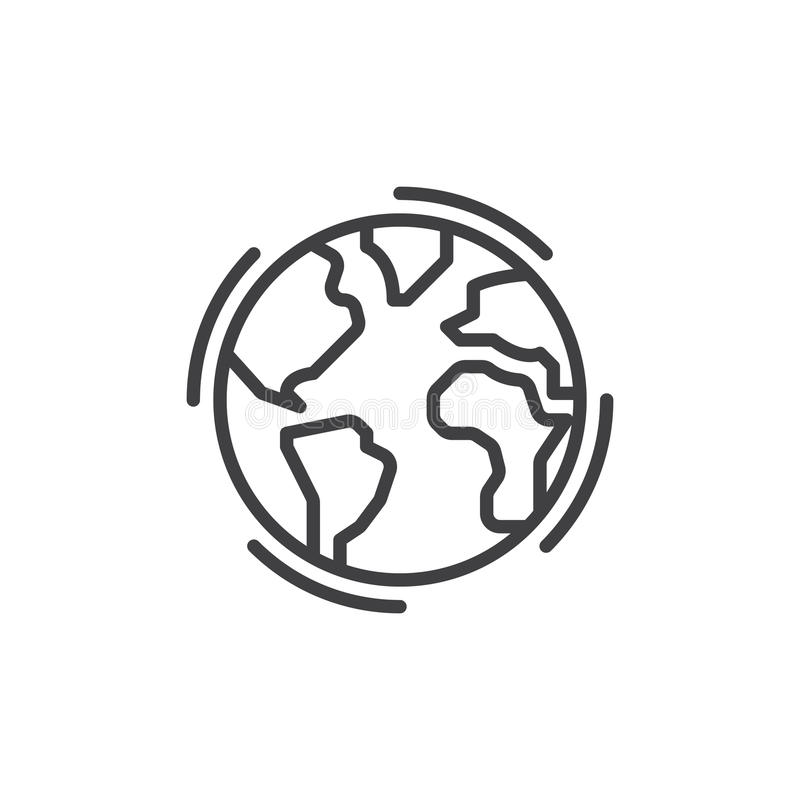 Earth globe line icon, outline vector sign, linear style pictogram isolated on white. royalty free illustration