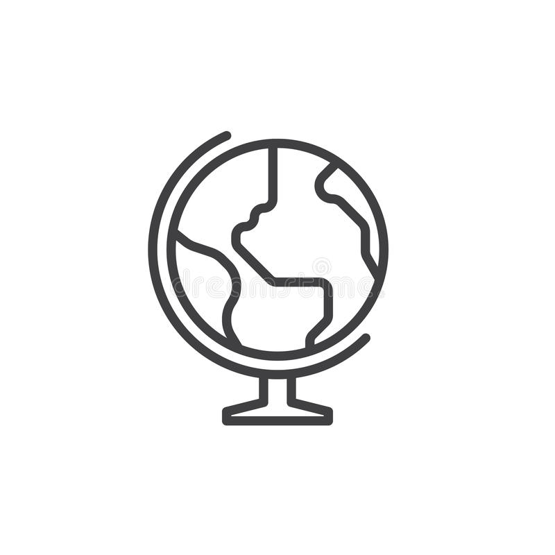 Earth globe line icon, outline vector sign, linear style pictogram isolated on white. vector illustration