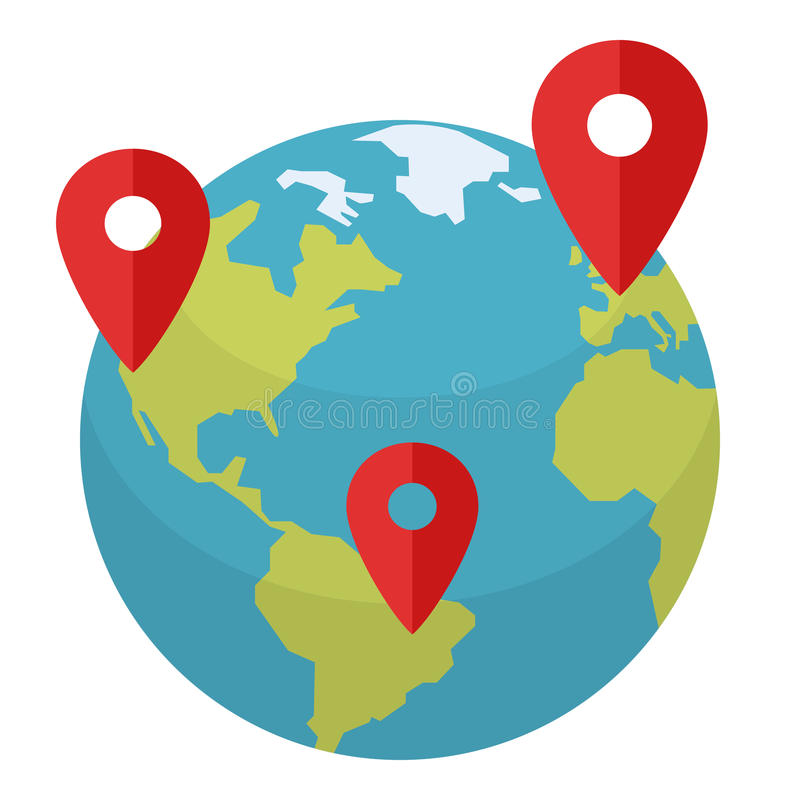 Earth Globe with Location Markers Flat Icon. Colorful planet Earth or globe flat icon with red markers, isolated on white background. Eps file available vector illustration