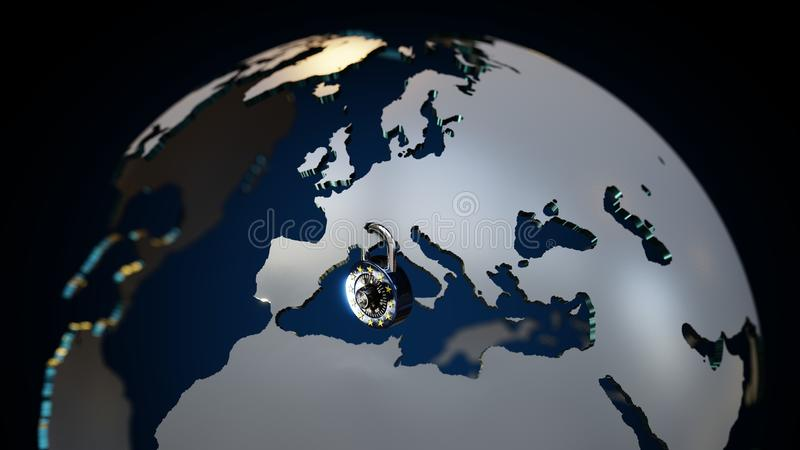 GDPR Europe Padlock 3D Globe royalty free illustration