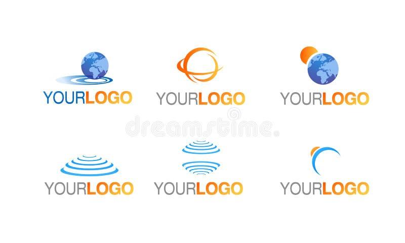 Earth globe logo vector set stock illustration