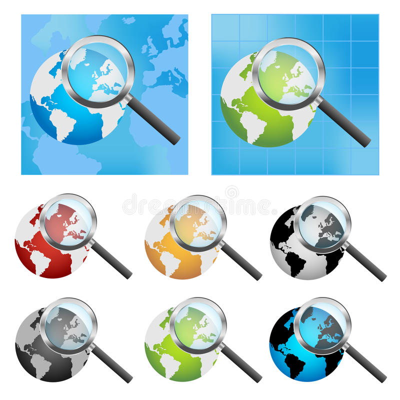 Earth globe and magnifier stock illustration