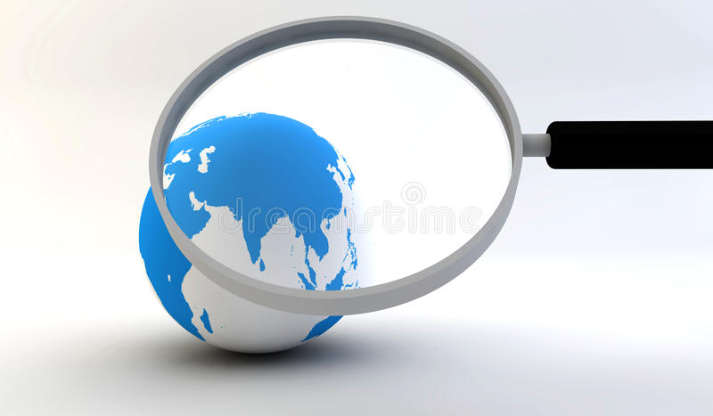 Earth globe with magnifying glass stock illustration