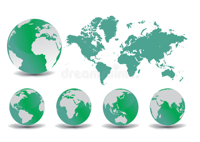 Earth globe and map stock illustration