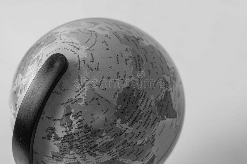 Earth globe map with focus on Asia, Russia, Canada, North Pole.  stock images